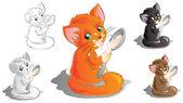 Kitten with spoon, five versions — Stock Vector
