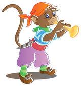 Monkey trumpeter — Stock Vector