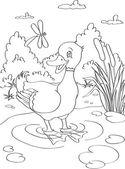Duck contour — Stock Vector