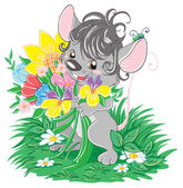 Gray mouse with flowers — Stock Vector