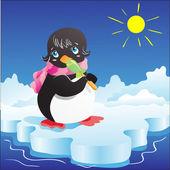 Little penguin with lollipop — Stock Vector