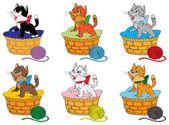 Set of kittens — Stock Vector