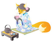 Fox in kimono drinks tea — Stock Vector