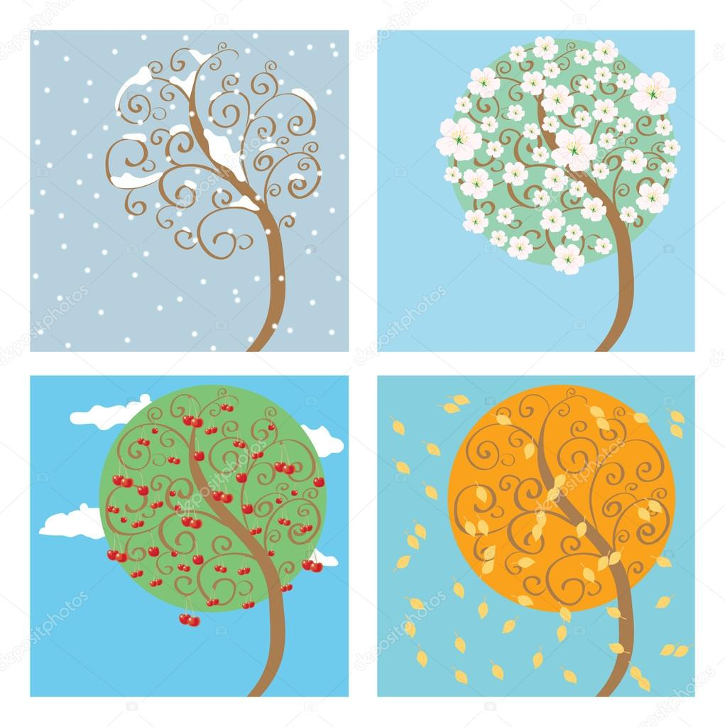 Cherry tree seasons — Stock Vector #14067906