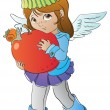Little angel with big apple — Stock Vector