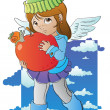Little angel with big apple — Stock Vector #14103320