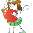 Little angel with big apple — Stock Vector #14103377
