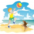 Boy and dog on beach play ball - Stock Vector