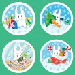 Royalty-Free Stock Vektorgrafik: Christmas bunnies