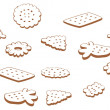 Stock Vector: Set of contour cookies