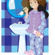 Girl in violet pyjamas cleans teeth — Stock Vector