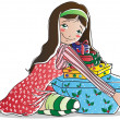 Stock Vector: Happy brunette girl with christmas gifts