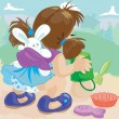 Girl with bunny in sling plays in sand-box — Stock Vector