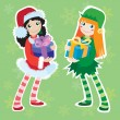 Stock Vector: Christmas elf and Santa girl