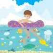 Boy and underwater dwellers — Stock Vector