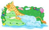 Jirafa bebé — Vector de stock