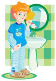 Boy in blue pyjamas cleans teeth — Stock Vector
