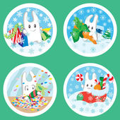 Christmas bunnies — Stock Vector