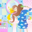 Cat and girl in the bathroom vector - ベクター素材ストック