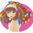 Girl with some stuff in hair - Stock Vector