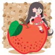 Red apple girl — Stock Vector