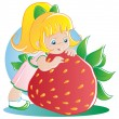 Stock Vector: Girl with strawberry