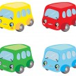 Four little buses isolated on white background - Stock Vector