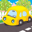 Stock Vector: Little yellow car