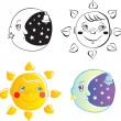 Sun and moon — Stock Vector