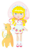 Doll and toy cat — Stock Vector