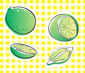 Lime on yellow square — Stock Vector