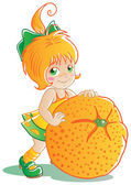Orange girl — Stock Vector