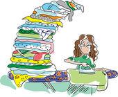 The girl irons shirt — Stock Vector