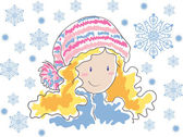 Blonde in a hat with pompom and snowflakes — Stock Vector