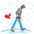 The guy goes in the snow and has a heart-shaped balloon — Stock Vector