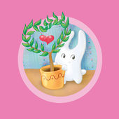 Bunny and the tree in heart shape — Stock Photo