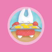 Bunny baking cookies — Stock Photo