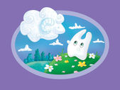 Bunny and a cloud in the shape of a ram (Aries) — Stock Photo