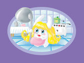 Bunny-blonde in the kitchen (Virgo) — Stock Photo