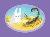 Bunny pokes a stick in the scorpion (Scorpio) — Stockfoto