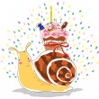 Birthday snail - Stock Vector