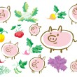 Pigs and vegetables — Stock Vector