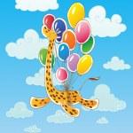 Flying giraffe — Stock Vector
