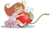 Girl with cherry — Stock Vector