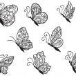 Stock Vector: Set of butterflies