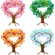 Heart tree seasons — Vettoriali Stock