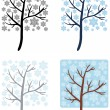 Square Snow Trees — Stock Vector