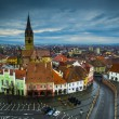 Sibiu, small square view - Stock Photo