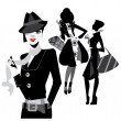 Black and white portrait fashion women — Vector de stock