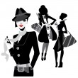 Black and white portrait fashion women — 图库矢量图片